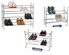 2/3/4- Tier Chrome Finish Stackable Extendable Shoe Storage Rack New