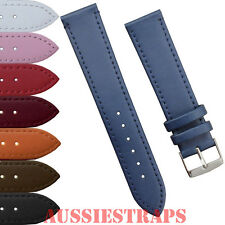 STITCHED Genuine Leather Thin Watch Band Strap Ladies Mens Classic Fine Watches