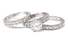 Rhodium Plated  Cubic Zirconia 3 Piece Bridal wedding Engagement Ring Set