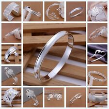 Wholesale Fashion Xmas Gifts Solid 925 SILVER Women Lady Men Bracelet Bangle