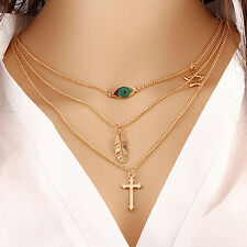 New Multilayer Chain Choker Necklace Triangle Arrow Beads Cross Jewelry Fashion