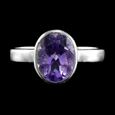 BEAUTIFUL! NATURAL 10X8 MM TOP CLASS PURPLE AMETHYST STERLING 925 SILVER RING