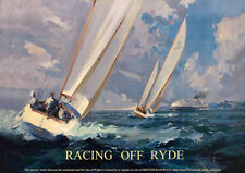 Racing off Ryde Isle of Wight -VINTAGE TRAVEL RAILWAY METAL TIN SIGN POSTER