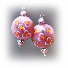 Earrings, Pink lampwork, choose bronze or silver and clip on or pierced