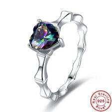 Heart Cut AAA Rainbow Topaz 100% S925 Sterling Gemstone Silver Ring Size 6 7 8 9