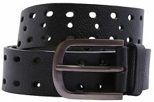 New Big Hole Design Pin Buckle Textured Genuine Leather Mens Belts S-3XL