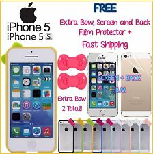 iPhone 5 5S Hello Kitty Bumper FREE 2 Bows Screen Back Film Protector Fast Shipp