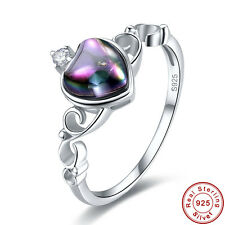 Lover Rainbow & White Topaz 100% S925 Sterling Gemstone Silver Ring Size 6 7 8 9
