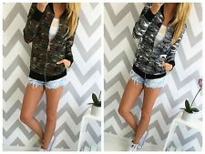 Womens Army Military Camouflage Basic Coat Casual Bomber Jacket Button Slim Coat