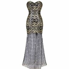 1920s Strapless Sequin Flower Tulle Dress Party Gown Great Gatsby Vintage 10