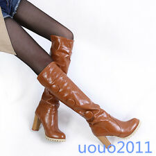 Size 4-11 Womens Retro High Block Heel Knee High Boots Pull On Knight Boots Sz
