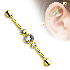 CZ Centered Multi Paved Gold Plated Surgical Steel Industrial Barbell Sold by Pc