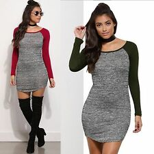 Women Sexy Long Sleeve Short Mini Bodycon Tight Cocktail Evening Party Dress
