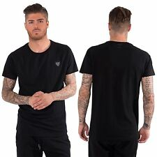 Mens T shirt Crew Neck Long Line Black Casual Tee Top XS-XL by Freemont & Harris