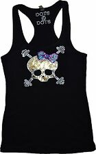 Bling SKULL weights Sequins Racerback Tank Top workout sports crossfit shirt