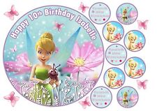 TINKERBELL EDIBLE ICING PERSONALISED BIRTHDAY CAKE TOPPERS VARIOUS SIZES