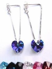 5 COLOURS - 925 Silver CRYSTAL Heart Chain Stud Earrings with SWAROVSKI ELEMENTS