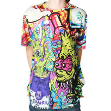 Chinkeyed Mens Psychedelic Bart Monster Graphic T-shirts Polyester Short Sleeve