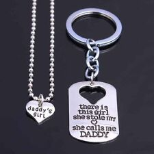 2in1 Fashion Silver Heart Dog Tag Keychain Pendant Necklace Father Mother Gifts