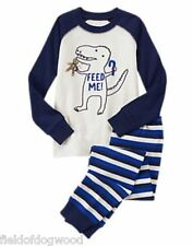 NWT Gymboree Boys Dinosaur Feed Me Dino Candy Cane Gymmies Pajamas SET 5,6