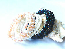 5-6mm genuinel natural freshwater pearl bracelet 3 rows wrap bracelet USA BY EUB