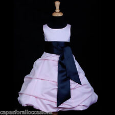 PINK BLACK TODDLER RECITAL PAGEANT WEDDING FLOWER GIRL DRESS 2 4 6 8 10 12 14 16
