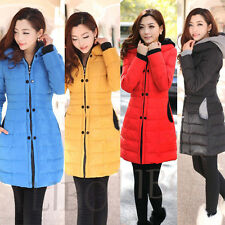 HOT Womens Hooded Long Slim Puffer Jacket Quilted Parka Overcoat Winter Coat