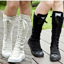 PUNK EMO Women Shoes Canvas Boots Zip Chic Xmas Lace Up Knee High Sneaker Pumps