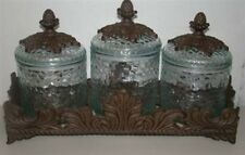 NEW GG Collection Baroque Textured Glass 3 Canister Set Gracious Goods
