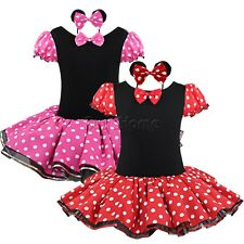 Girls Kids Minnie Mouse Dress Up Party Fancy Costume Cosplay Tutu Skirt+Headband