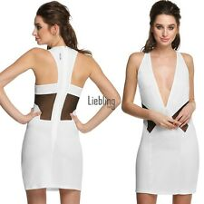 Fashion Women Sleeveless Deep V-neck Back Hollow Out Party Cocktail Dress LEBB