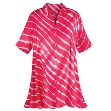 Tunic Top - Red and White Candy Striped Button Down Shirt