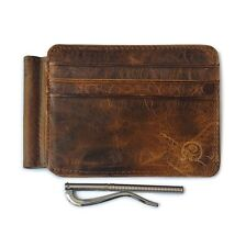 Retro Men's Genuine Cowhide Leather Money Clip Slim Wallet ID Credit Card Holder