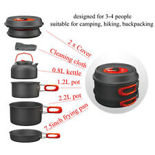 1-2/3-4 Person Cooking Camping NEW NICE Outdoor Pots Frying Pan Kettle Set OP