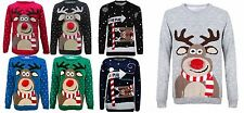 Womens Rudolph Reindeer Pom Pom Novelty Xmas Ladies Sweater Jumper Knitted Top