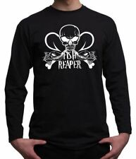 Fish Reaper Skull Pirate Fishing Gift Hobbies Angling Mens Long Sleeved T Shirt