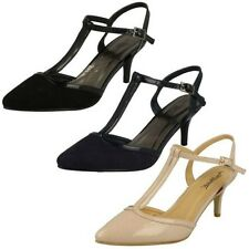 Womens Anne Michelle Mid Heel T Bar Court Shoe 'F9888'