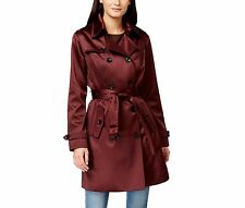 Michael Kors Woman S Burgundy Satin Double Breasted Trench Coat Raincoat New