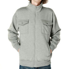Mens Casual Eco Fleece Highneck Full Zip Jacket Solid Grey Warm Outwear Winter