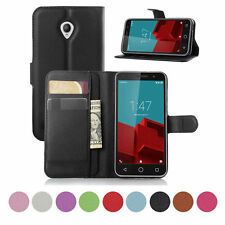 Luxury Pu Leather Magnetic Stand Wallet Pouch Flip Folio Case Cover for Vodafone