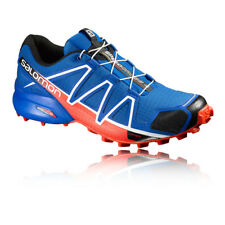 Salomon Speedcross 4 Mens Red Blue Water Resistant Running Shoes Trainers