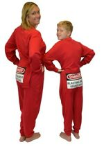 """Red Union Suit Sleeper Pajamas with Funny Butt Flap """"DANGER BLASTING AREA"""""""