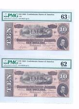 1864 PAIR of consecutive T68 notes.UNC.-62 and CH. UNC.-63 EPQ.