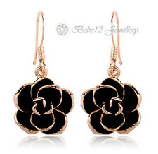 Black Dangling Rose/Camellia/Flower/Stud Earring/Stud/Rose gold/RGE612