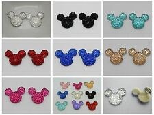 20 Flatback Resin Dotted Rhinestone Gems Mouse Face 24X20mm Pick Your Color