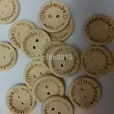 100 PCS 15/20/25mm Handmade Wood Wooden Sewing Buttons Crafts Scrapbooking CA