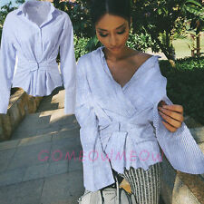 Women Flare Long Sleeve Blue White Stripes Waist Slim Fitted Blouse T-Shirt Top