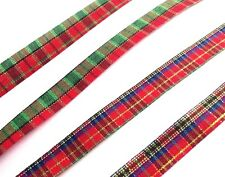 "PLAID RED GREEN BLUE GROSGRAIN RIBBONS 0.5"" WIDTH TRIM CHRISTMAS GIFT 5 10 YARDS"