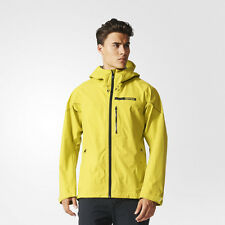Adidas Terrex Fastr Active Shell Mens Yellow Water Resistant Hooded Jacket Top