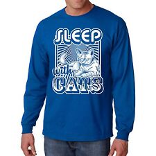 Sleep With Cats Long Sleeve T Shirt Funny Kitten Tee Pet Animal Lover Humor Gift